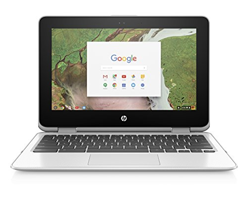 HP Chromebook x360 11-inch Convertible Laptop, Intel Celeron N3350, 4GB RAM, 16GB eMMC storage, Chrome OS (11-ae030nr, White)