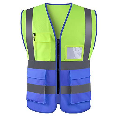WUIO Chaleco De Alta Visibilidad, Chaleco Reflectante, Para Construcción, Administración De Carreteras, Advertencia De Seguridad, Ciclismo Y Caminata, Etc. (Amarillo + Azul)