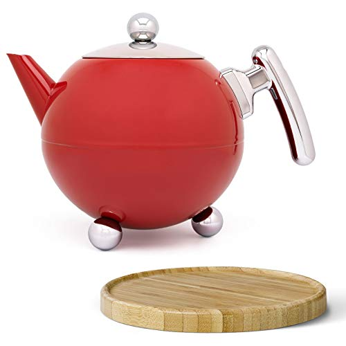 Bredemeijer rote bauchige doppelwandige Edelstahl Teekanne Set 1.2 Liter & brauner Untersetzer aus Holz
