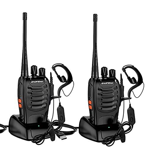 StillCool Walkie Talkie Profesionales Recargable16 Canales Dispositivo de Radio BF-888S 1500 mAh con Recepción de Radio de 3-5 km De Alcance,Linterna Recargable y Auriculares Duales Portátiles(2 PCS)
