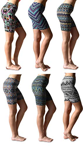 Sexy Basics Womens 6 Pack Buttery Soft Brushed Active Stretch Yoga Bike Short Boxer Briefs (6 Pack- Tribal Prints, Medium)