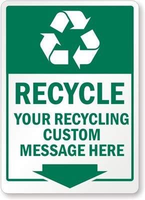 qidushop – Cartel de Reciclaje Personalizable con Mensaje en inglés Here Down Arrows para decoración de Pared, Metal y Aluminio, 25 x 35 cm