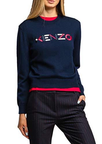 Kenzo Damen Pullover mit gesticktem Logo mehrfarbig FA62PU5413LA Größe XS Gr. XS, blau