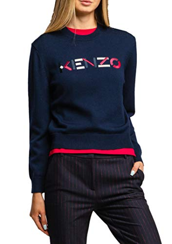 Kenzo Sweatshirt Wollpullover für Damen mehrfarbigem gesticktem Logo FA62PU5413LA Größe S.
