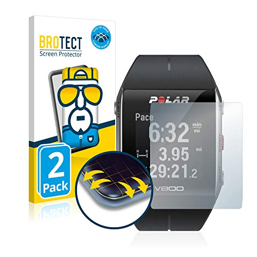 BROTECT Full-Cover Schutzfolie kompatibel mit Polar V800 HR (2 Stück) - Full-Screen Bildschirmschutz-Folie, 3D Curved, Kristall-Klar