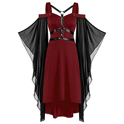 YEBIRAL Damen Übergroße Vintage Gothic Mittelalter Kleid Mesh Schmetterlingsärmeln Renaissance Cosplay Dress Schnürkleid Party Halloween Fasching Kostüm