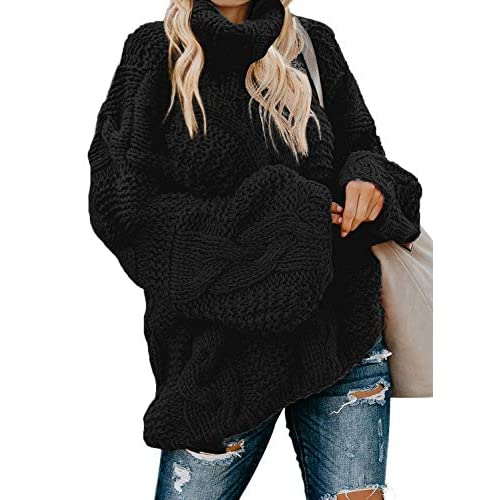 BLENCOT Women Chunky Turtleneck Sweater Casual Long Sleeve Twist Knitted Pullover Jumper