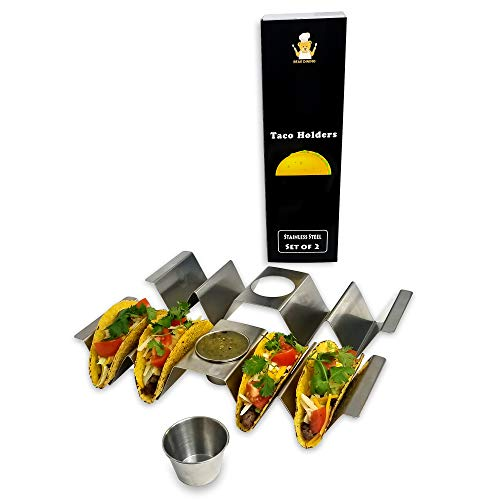 Bear Dining Premium Taco Holder with Built-in Handle and Sauce Cup | Large Size Fits 4 Tacos | Stainless Steel | Set of 2