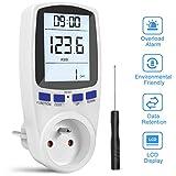Gafild Compteur d'énergie Wattmètre Prise,Prise Compteur d'Énergie électrique avec 7 Mode, Compteur d'énergie avec l'écran d'affichage à cristaux liquides pour Économie d'Energie, 3680W (Single-rate)