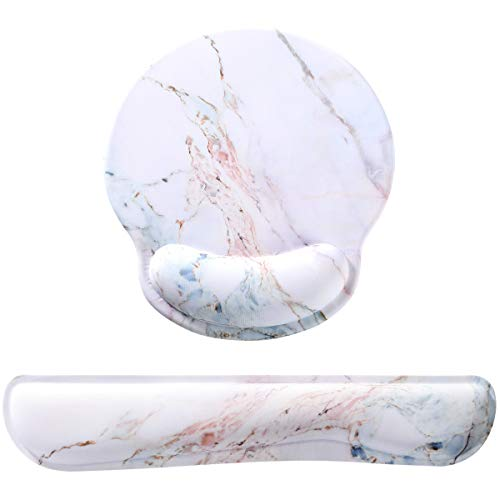 Memory Foam Ergonomic Keyboard Wrist Rest Pad and Mouse Wrist Rest Support Mouse Pad Set with Non-Slip Rubber Base Set for Office Gaming Easy Typing & Pain Relief-Colorful Marble