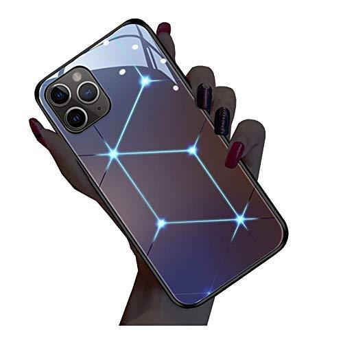AIJOAIM Carcasa para iPhone 12, con logotipo de luz LED que brilla en la oscuridad, funda protectora de cristal templado resistente a los arañazos, iPhone 7 Plus/8 Plus
