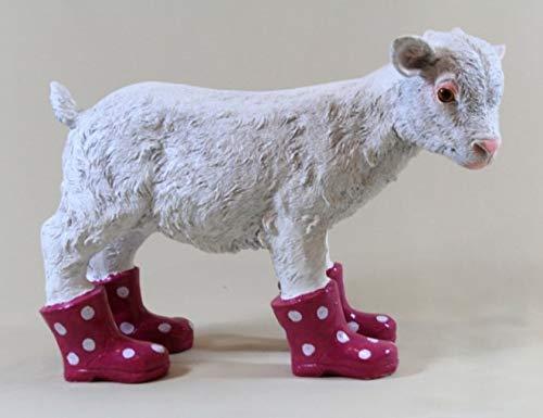 Vamundo Chèvre décoratif amusant avec bottes en caoutchouc - Couleur : mûre - Résistant aux intempéries - Pour l'intérieur et l'extérieur.
