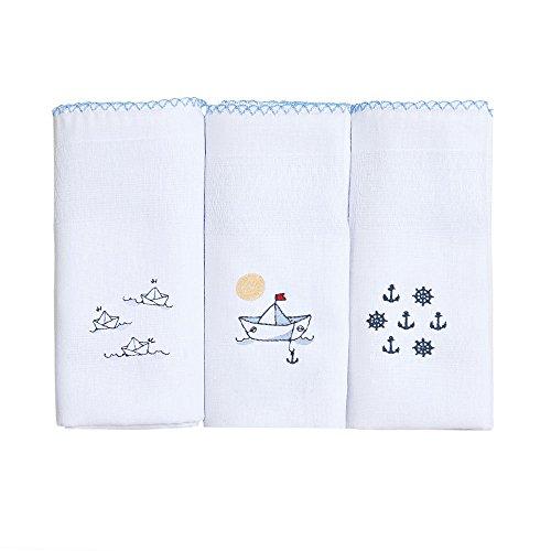 Papi Textil 1532125301 Fralda Bordados Karinho, 70 x 70 cm, Azul Barcos, Pacote de 3