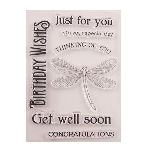 Birthday Wishes Just for You Get well Soon Sentiment greetings Clear Stamps for Cards Making Decoration and Scrapbooking Rubber Stamps for Craft
