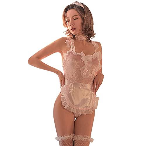 ROUGE 裸エプロン コスプレ メイド服 セクシー コスチューム レディース M 白 ホワイト a067-wh