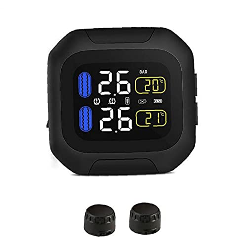 Runfon Sensor de presión de neumático de Motocicleta TPMS Calibrador de Temperatura inalámbrico Tiempo Real Pantalla LCD