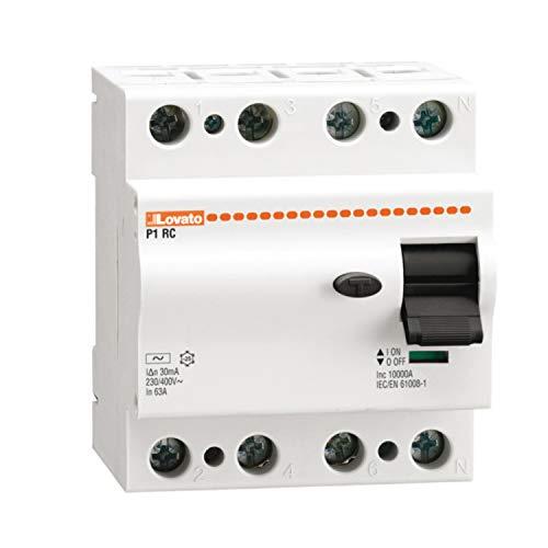 Interruptor diferencial tipo AC, 4 polos 25A 300mA, 7,2 x 6,5 x 11,5 centímetros, color blanco (Referencia: P1RC4P25AC300)