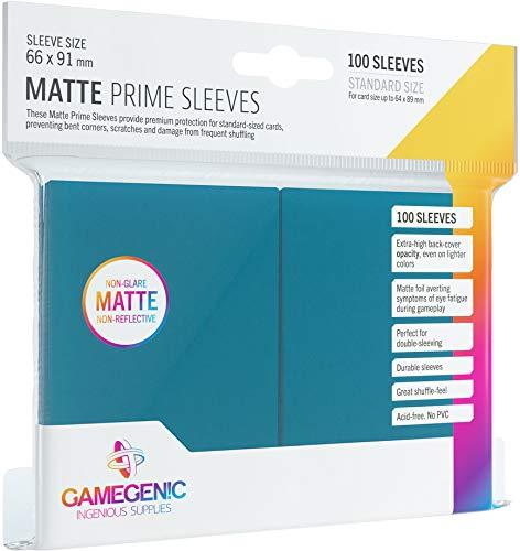 Asmodee - 100 Bustine Protettive Gamegenic per Carte, Giochi di Società, Matte Prime Sleeves Blue Pack, Colore Blu, Opache