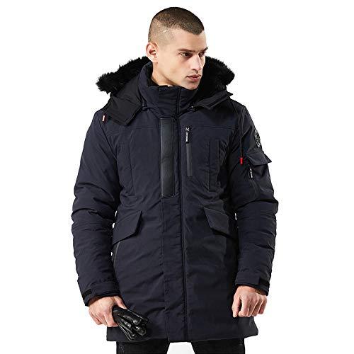 Jianhui Warmer und kältefester Herren-Trenchcoat aus Dicker Baumwolle mit Kapuze, dunkelblau XXXL