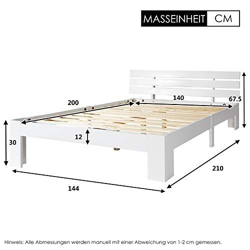 ModernLuxe Doppelbett Massivholzbett 140 x 200 cm Holzbett Kiefer Balkenbett Bettgestell mit Kopfteil und Lattenrost, als Seniorenbett geeignet, Komfortbett mit Rückenlehne Bett Weiß(Ohne Matratze)