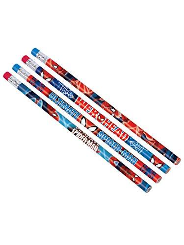 12 Crayons à Papier Spiderman - Taille Unique