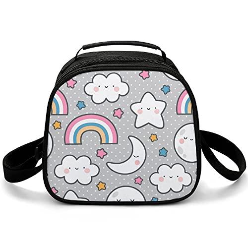 Bolsa Almuerzo Infantil Estrella Nube Arco Iris Bolsa Térmica Para El Almuerzo Impresión Lunch Bag Para Escuela Viaje Picnic 20x12.5x20cm