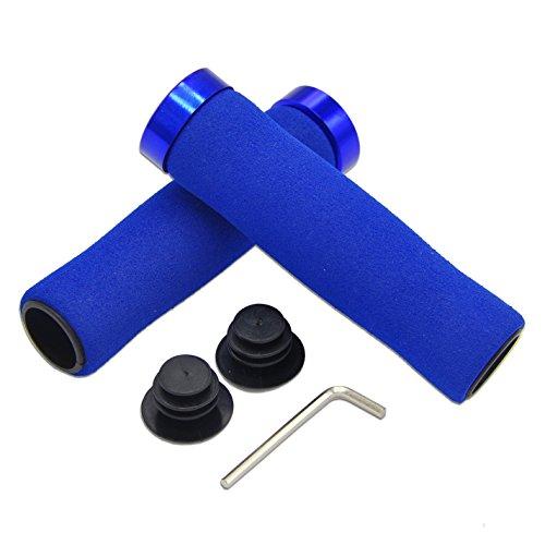 Labego, manopole in spugna per bicicletta, bloccabili, per mountain bike, BMX, MTB, monopattino, Blue