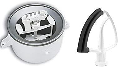 KitchenAid KSMDRTVICE3 2-Quart Ice Cream Maker & Flex Edge Beater Package Stand Mixer Attachments