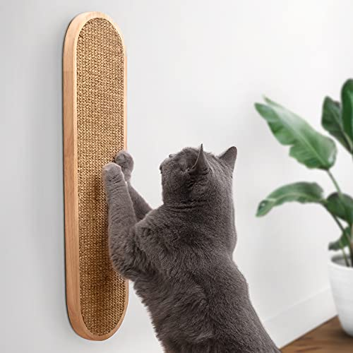 7 Ruby Road Wall Mounted Cat Scratching Post - Wall Mount Wooden Sisal Cat Scratcher - Vertical Scratch Pad for Indoor Cats or Kittens - Cute Modern Cat Wall Furniture (22 x 5.7 inches)