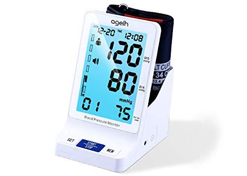 Brazo Tensiómetro–Automático de presión arterial y pulso con arrhythmie de detección + 5.5Inch Display–Nueva En 2018, color blanco