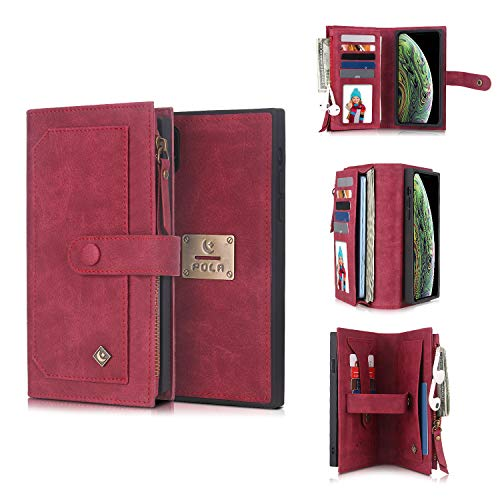 """iPhone Xs Max Phone Wallet Case,AKHVRS 2 in 1 Leather Flip Case with 9 Card Slots Money Pocket Clutch Cover with Zipper Wallet Detachable Magnetic Slim Case for 6.5"""" iPhone Max Phone - Red"""