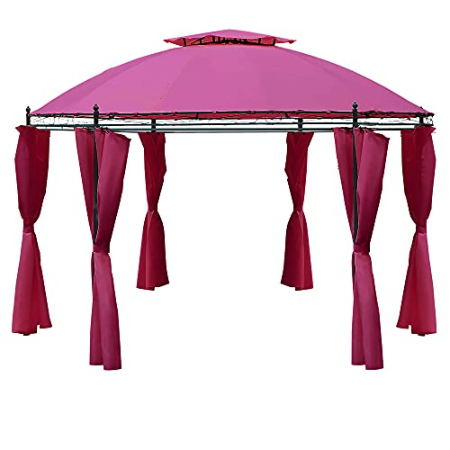 Outsunny 11.5' Steel Outdoor Patio Gazebo Canopy with Romantic Round Design & Included Side Curtains, Wine Red