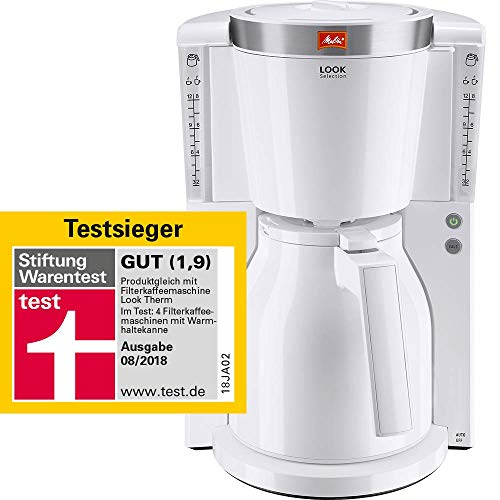 Melitta Look Therm Selection 1011-11, Filterkaffeemaschine mit Thermkanne, AromaSelector, Weiß Filter-Kaffeemaschine, 1.2 liters