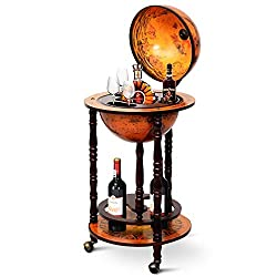 "top 10 globe home bar Goplus 17 ″ Wooden Stand Wine Bar ""Globus"" 16th Century Italian Made Liqueur Bottle Shelf with Counter Wheel…"