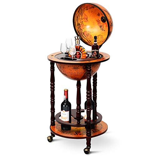 "Goplus 17"" Wood Globe Wine Bar Stand 16th Century Italian Rack Liquor Bottle Shelf with Wheels (Retro Brown)"