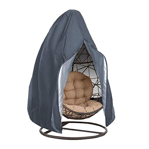 Fundas para silla de huevo, tela Oxford 210D, resistente, resistente al agua y a los rayos UV, cubierta para muebles de jardín con cremallera, 190 x 115 cm (color gris)