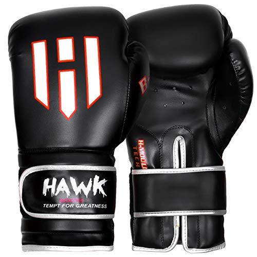 Hawk Boxing Gloves for Men & Women Training Pro Punching Heavy Bag Mitts MMA Muay Thai Sparring Kickboxing Gloves (Black, 12 oz)