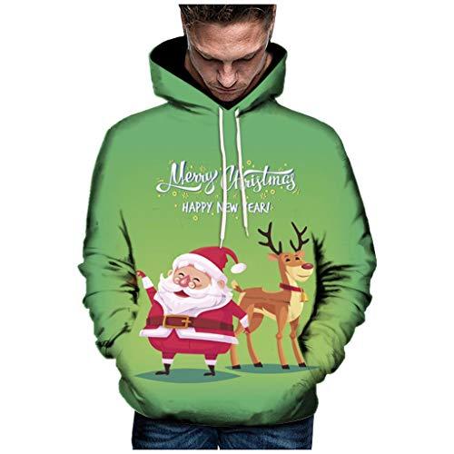Sudadera con Capucha para Hombre con impresión 3D de Navidad, para otoño e Invierno, de Manga Larga, con Capucha, Color Verde Verde XL