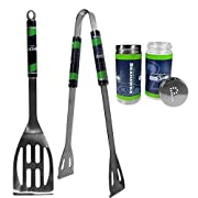 Officially licensed NFL product 2pc stainless steel grill tool set perfect for tailgating and outdoor parties or at your campsite 420 grade stainless steel tools Shakers feature screw top lids for easy refill Tools and shakers feature bright Seattle ...