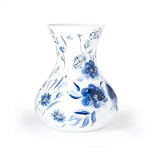 Design Vaas - Delfts Blauw - Fidrio - glazen sculptuur - gekleurd glas - handgeschilderd - 30 cm hoog