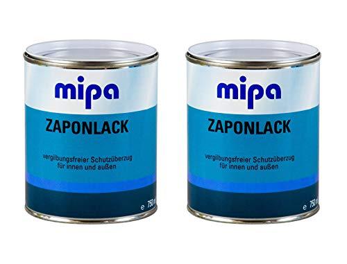 Mipa 2X Zaponlack Metallschutzlack farblos vergilbungsfrei Schutzüberzug 750 ml