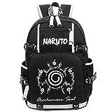 Mochila para portátil Siawasey, bolsa de hombro, mochila escolar, anime japonés, cosplay negro Naruto 2
