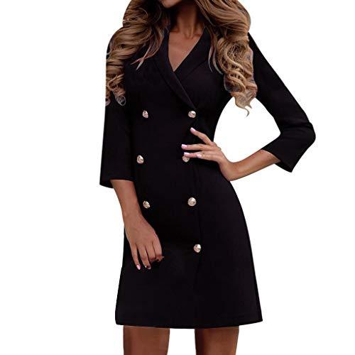 Vestidos Mujer Invierno Rebajas,Vestido de Traje de Mujer Color sólido Cuello Vuelto Abrigo de Doble Botonadura más Vestido Formal de Trabajo Informal de Terciopelo