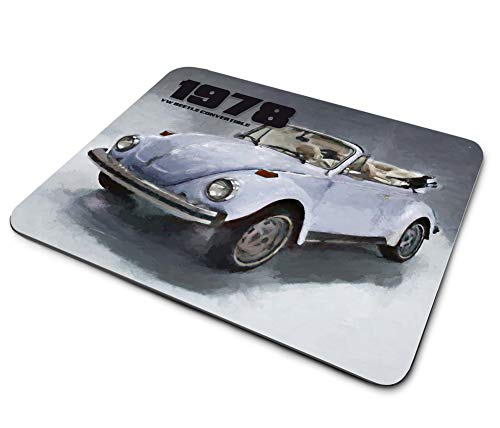 1978 Compatible with VW Volkswagen Beetle Convertible Design Thin Rubber Backed Square Mouse Pads for Gaming Computer Laptops Notebooks Desks