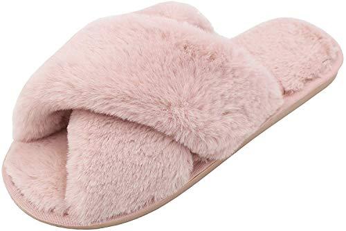 AONEGOLD Hausschuhe Damen Winter Warm Plüsche Pantoffeln rutschfeste Flache Flip Flop Slippers Indoor/Outdoor(Pink,40/41 EU)