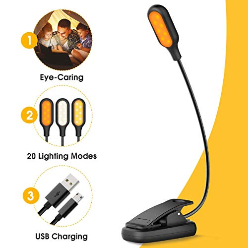 LOHAS Amber Book Light, USB Rechargeable Blue Light Blocking Reading Light, Clip on LED Light, 4 Warm&1 White Color Music Stand Lamp, 20 Lighting Modes, Perfect for Kids, Bookworms & Music Lovers