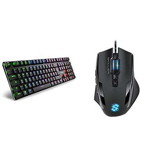 Sharkoon PureWriter RGB Mechanische Low Profile-Tastatur (RGB Beleuchtung, rote Schalter) schwarz & Skiller SGM1 Gaming Maus mit Makrotasten (10800 DPI, RGB-Beleuchtung, 12 Tasten) schwarz