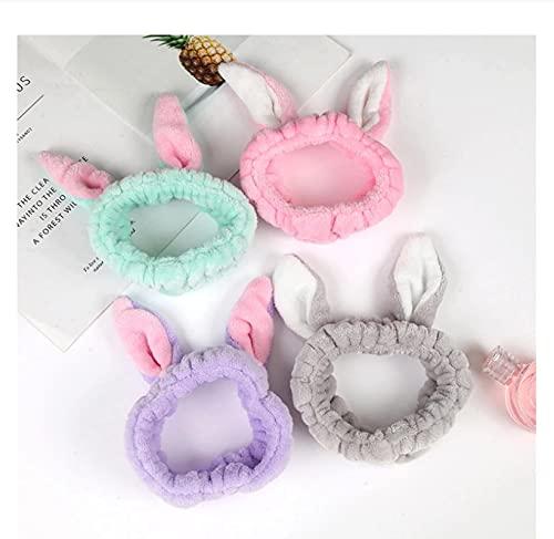 4 unids suave orejas de conejo banda para el pelo lavado de la diadema de las señoras niñas dulce linda diadema diadema diadema con accesorios para el cabello