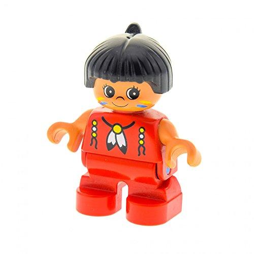 1 x Lego Duplo Figur Kind Mädchen Type 2 Indianer Top rot mit Muster Haare schwarz mit Feder (American Indian) Puppenhaus 6453pb031