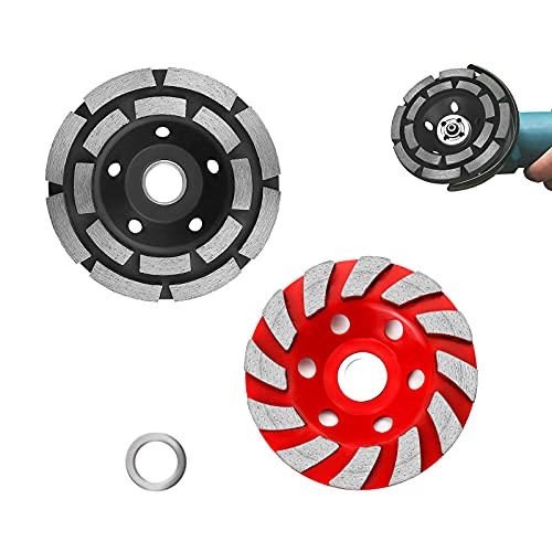 OKVEQUIP 2PACK 4Inch Diamond Cup Grinding Wheel Concrete Sanding Discs 12 Segments Heavy Duty Angle Grinder Wheels forGrinder Polishing Masonry Angle Grinding(Black and RED)